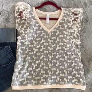 Anthropologie Laced Flower Top